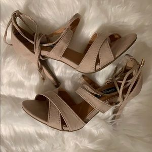 Lulus suede nude lace up ankle heels DB DK Fashion